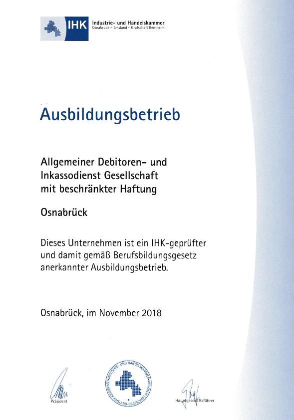 Allgemeiner Debitoren- und Inkassodienst GmbH Ausbildungsbetrieb
